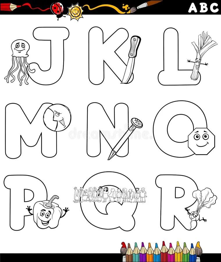 Cartoon Alphabet For Coloring Book Stock Vector