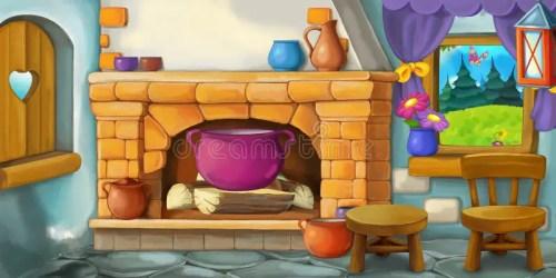 cartoon kitchen background fairy interior tale fashioned illustration scene happy preview