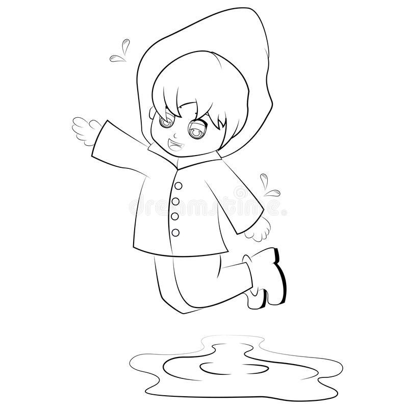 Cartoon boy jumping stock illustration. Illustration of