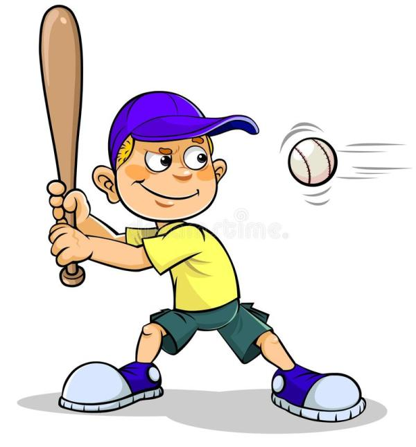 Cartoon Boy Playing Baseball Clip Art