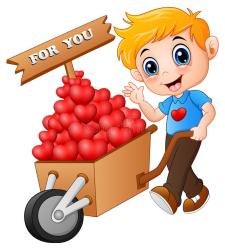 boy trolley shopping illustration cartoon supermarket pushing pile hearts wood running