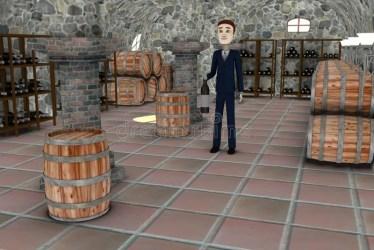 cellar cartoon businessman bottle 3d
