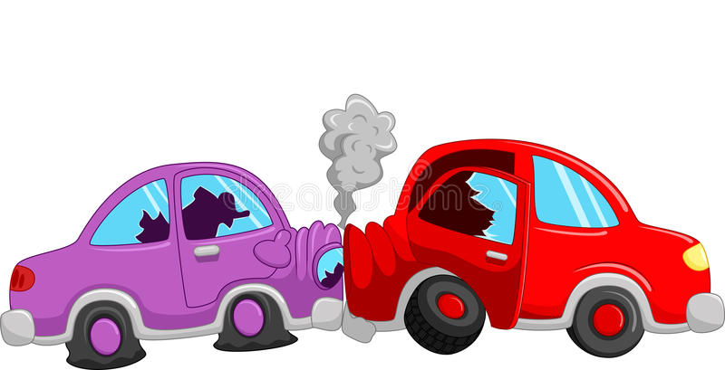 Cartoon Car Accident Stock Vector. Illustration Of Auto