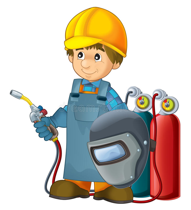 Cartoon Construction Worker In Some Additional Safety Cover Welder In Mask With A Tool Stock