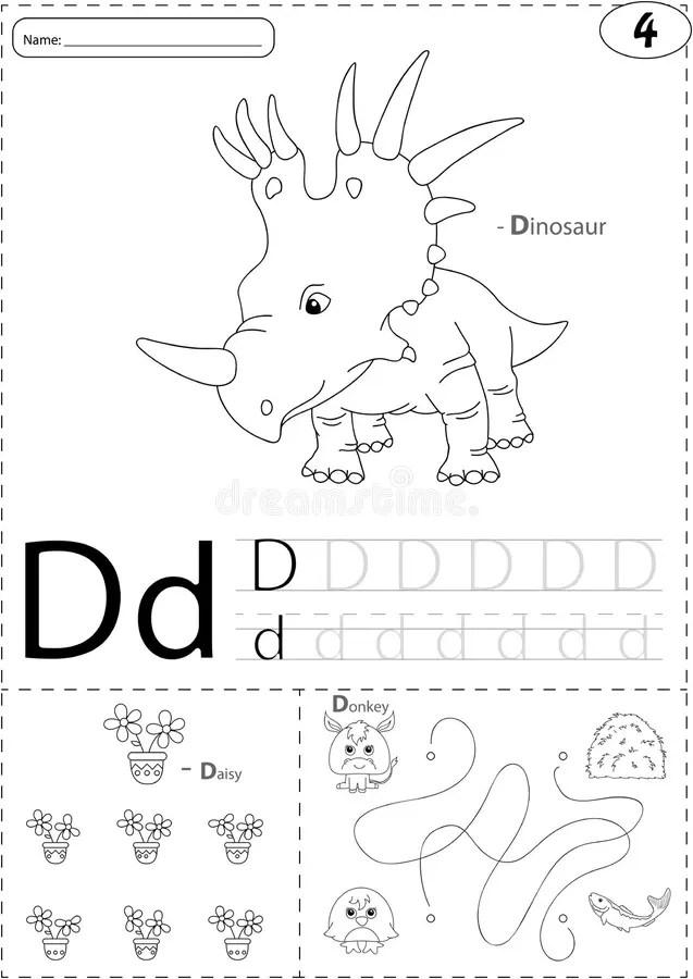 Cartoon Dinosaur, Daisy And Donkey. Alphabet Tracing