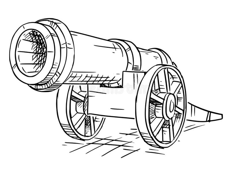Old artillery cannon stock vector. Illustration of cannon