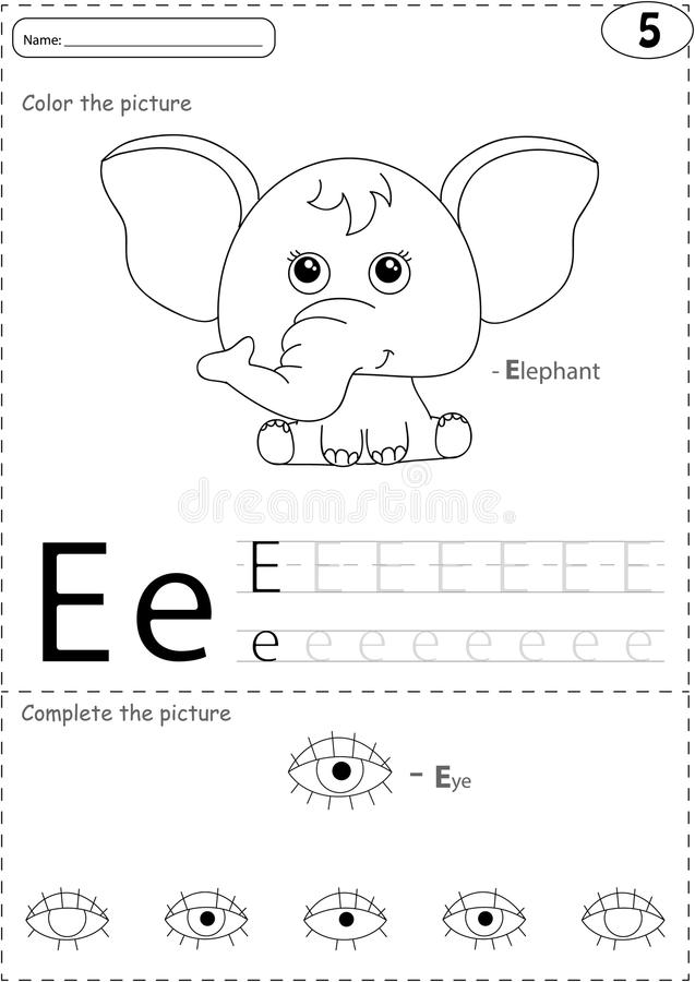 Cartoon Elephant And Eye. Alphabet Tracing Worksheet
