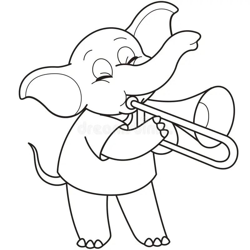Cartoon Elephant Playing A Trombone Stock Vector