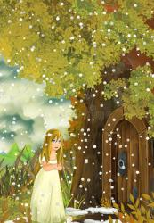 cartoon scene young dirty door traditional cook kitchen help illustration fairy tale standing near tree living gentle looking