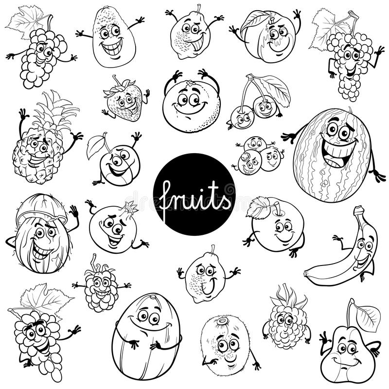 Fruits And Vegetables Group Cartoon Illustration Stock