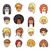 cartoon girls hairstyles vector