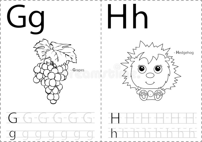 Cartoon Grapes And Hedgehog. Alphabet Tracing Worksheet