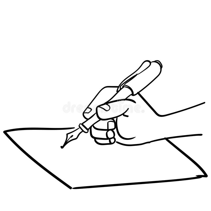 Cartoon Hand Writing With Pen-Vector Drawn Stock Vector