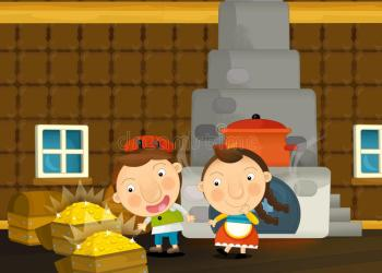 traditional scene cartoon boy young happy kitchen funny