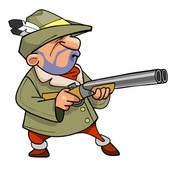 Cartoon Hunter In Hat With Feather Holding Gun