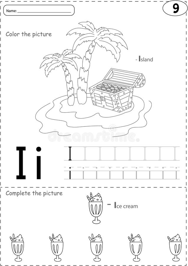 Cartoon Ice Cream And Island. Alphabet Tracing Worksheet