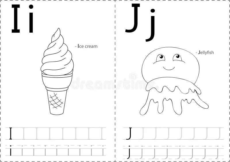Cartoon Ice Cream And Jellyfish. Alphabet Tracing