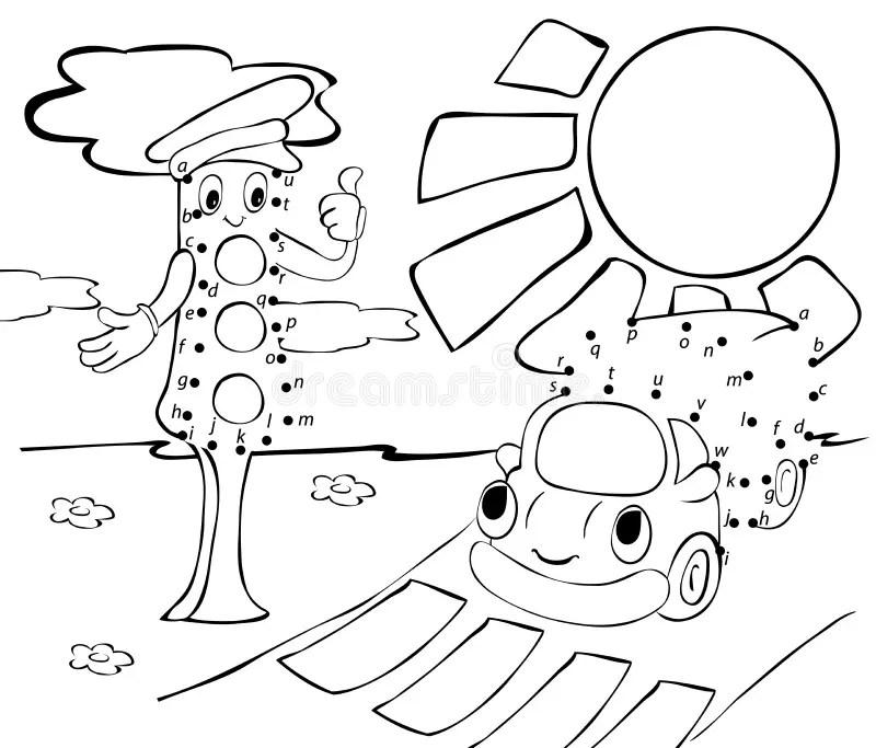 Cartoon Lorry, Traffic Lights And Sun. Vector Illustration