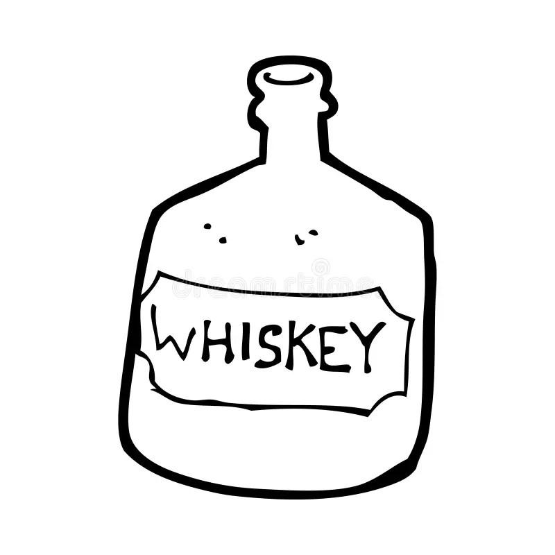 Cartoon Old Whiskey Bottle Royalty Free Stock Image