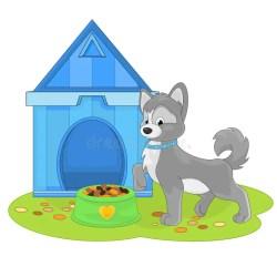cartoon dog near doghouse tecknad puppy vector med canile cibo cani vicino ad kennel cane vektor filmhund kakan royalty foer