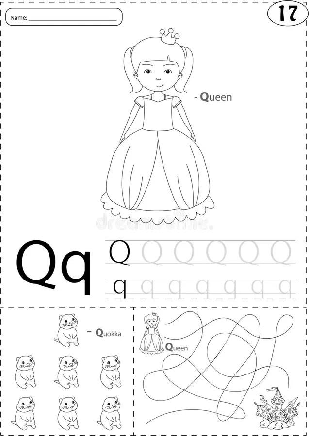 Cartoon Queen And Quokka. Alphabet Tracing Worksheet