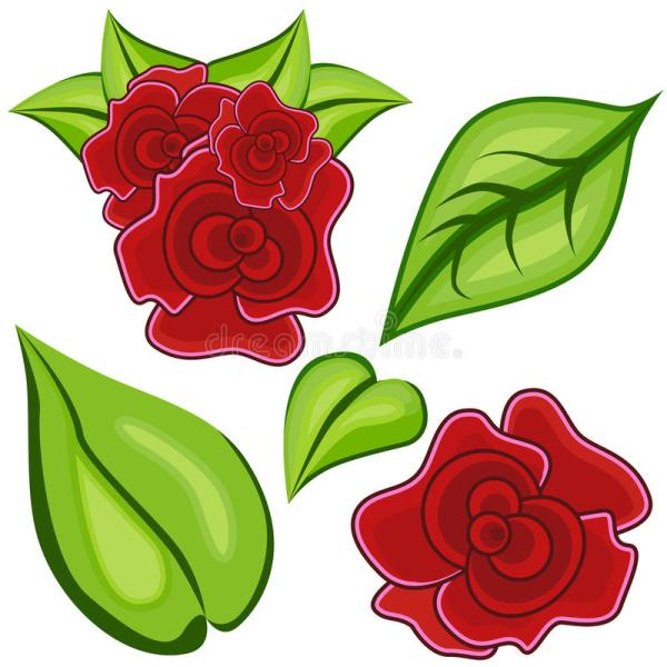 Cartoon Rose Leaf Icon Set Royalty Free Stock