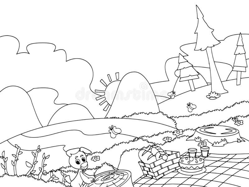 Camping In Idyllic Mountains Stock Illustration