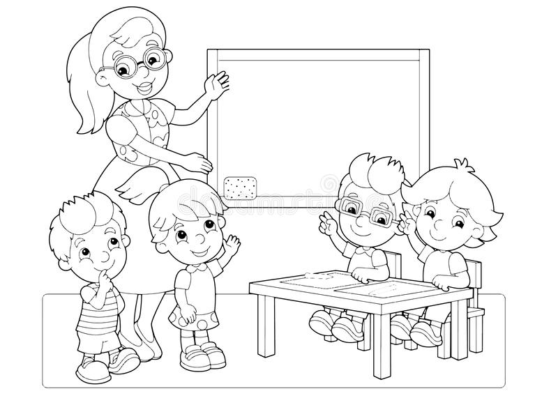 Cartoon Scene With Children And Teacher In The Classroom