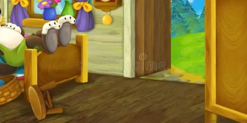 cartoon interior scene lazy fairy room sleeping wolf tale illustration background dressing bed kitchen children princess