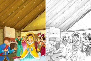 scene cartoon illustration beautifully tales dressed fairy manga ball going different young proposing kitchen woman bright female