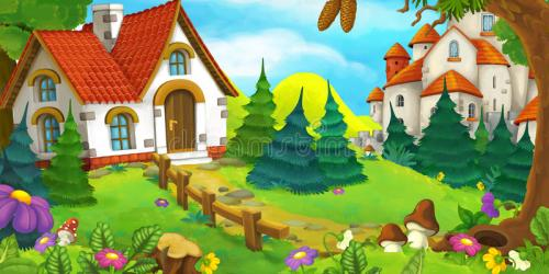 forest cartoon castle scene background happy illustration houses preview