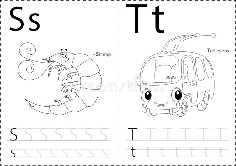 Cartoon Shrimp And Trolleybus. Alphabet Tracing Worksheet