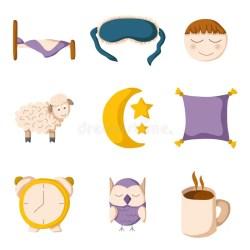 cartoon sleeping sleep icons vector pillow cute mask bed insomnia owl sheep illustration silhouette depositphotos vectors illustrations