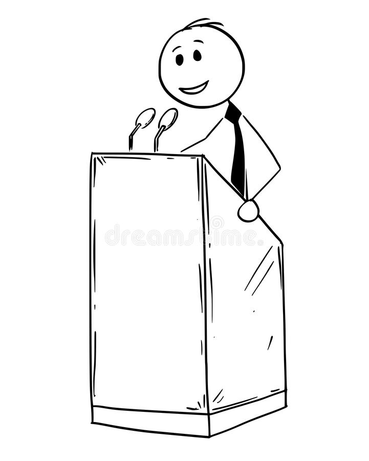 Speaker At Podium. Vector Drawing Stock Vector