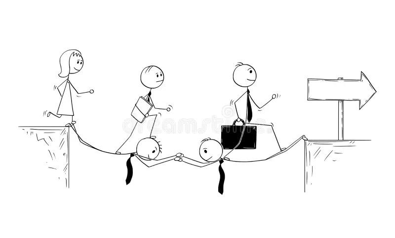 Conceptual Cartoon Of Business Teamwork And Sacrifice