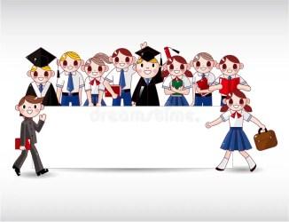 cartoon student graduation students party card graduate icons invitation icon illustration