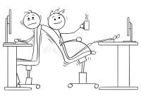 Cartoon Of Two Office Workers With Lack Of Space For ...