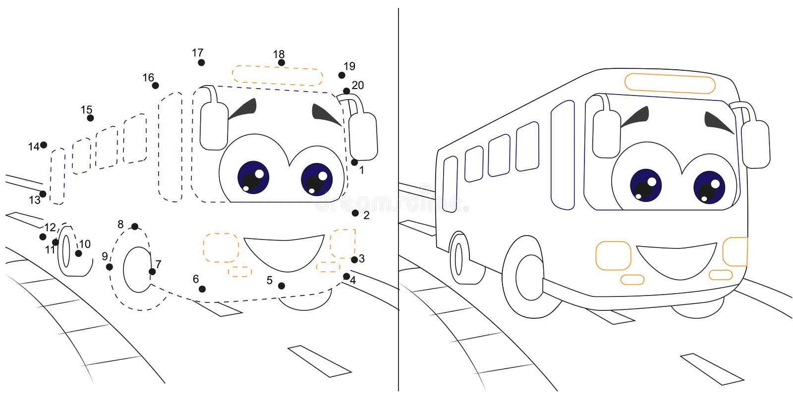 Bus. Numbers Game For Children. Dot To Dot Educational Kid