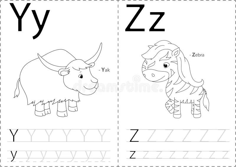 Cartoon Yak And Zebra. Alphabet Tracing Worksheet: Writing