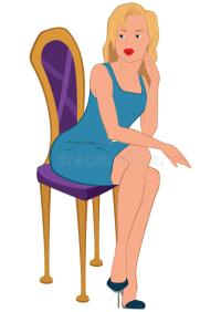 Cartoon Young Woman In Blue Dress Sitting On Purple Chair ...