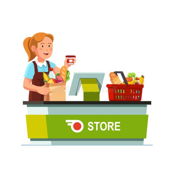 Cashier Working Grocery Store Checkout Counter Stock