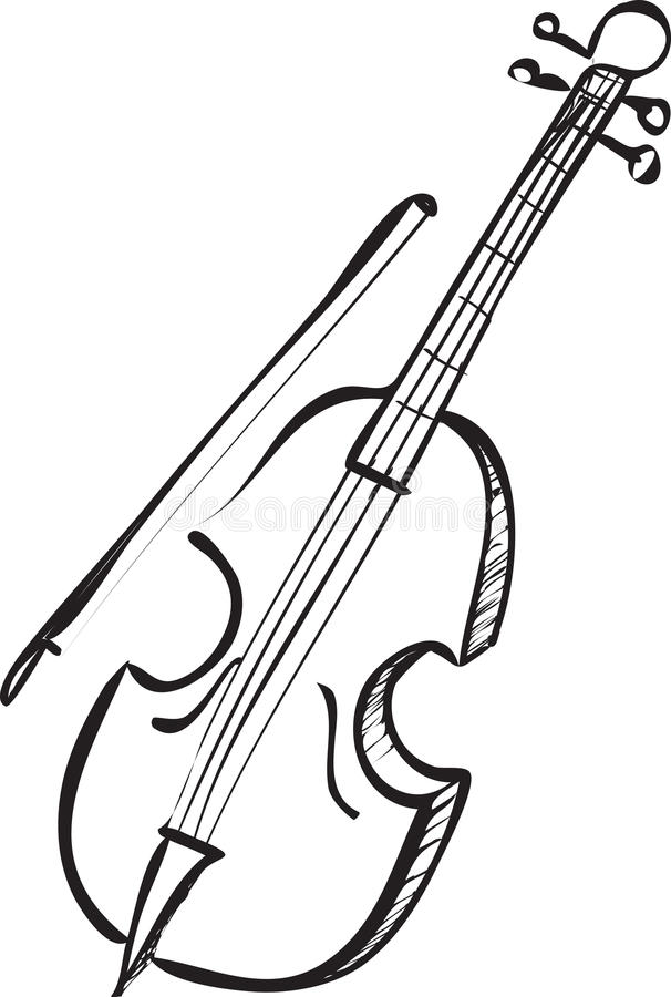 Cello Doodle stock vector. Image of illustration, sketch