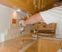 Ceramic Tile Installation On Kitchen Backsplash 12 Royalty ...