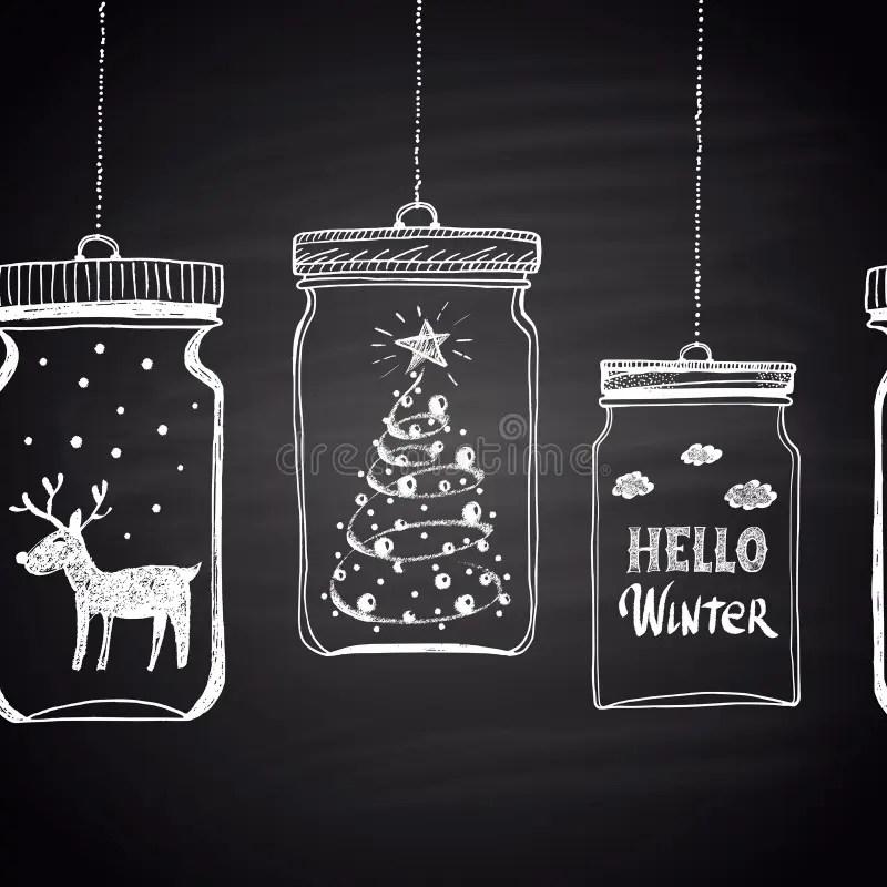 Chalk Drawn White Horizontal Border With Christmas Tree