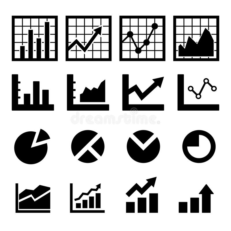 Graphics And Chart Outline And Filled Icon Set Stock