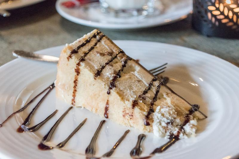 Slice Of Cheesecake With Biscuits And Dripping Chocolate Cream Stock Image - Image of cheese. delicious: 72746077