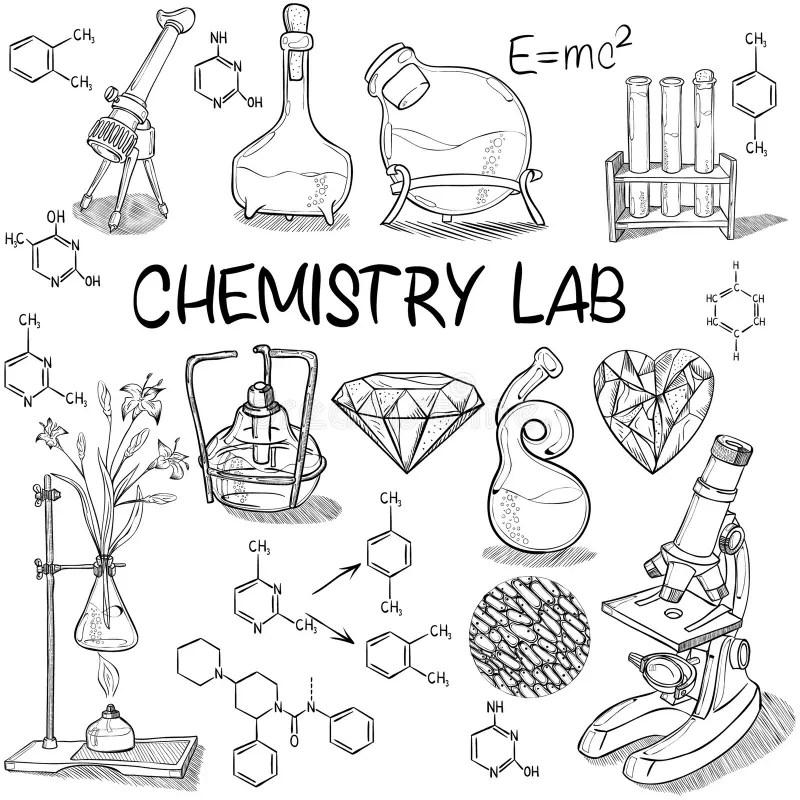 Chemistry lab sketch set stock vector. Illustration of