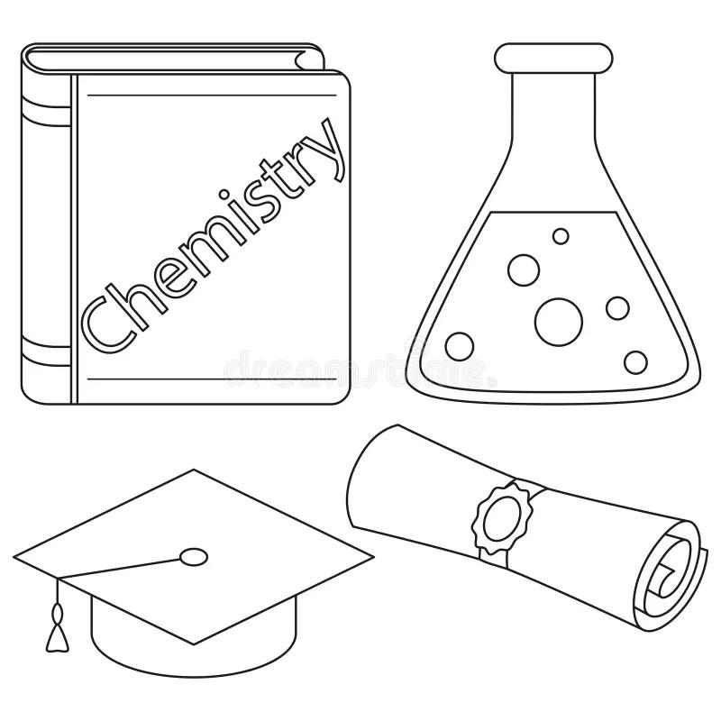 Line Art Diploma Scroll Graduation Hat Set Stock Vector