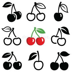 cherry silhouette outline vector icon collection icons illustration clipart dreamstime illustrations vectors garden shutterstock preview