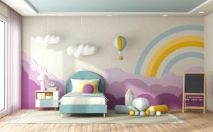 child decoration bedroom empty wall background stylized clouds tree premium toy playroom illustration